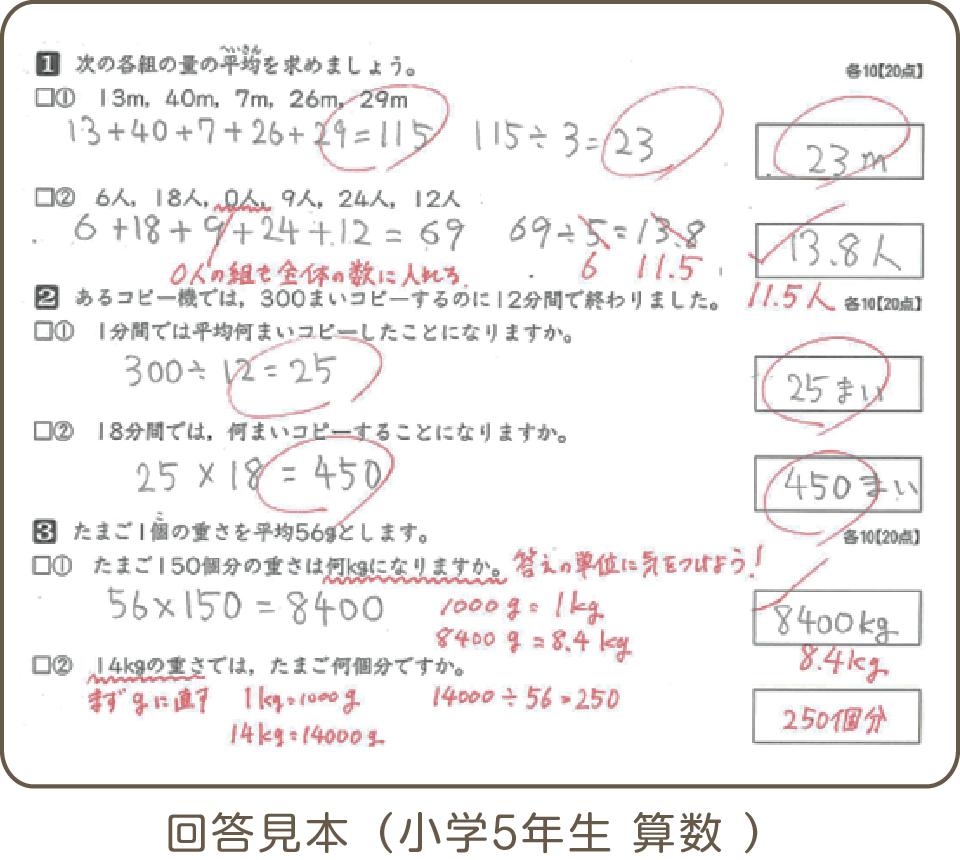 回答見本(小学5年生 算数)